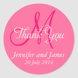 Monogram Thank You Wedding Favour Stickers Pink