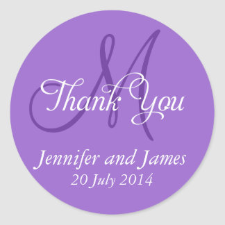 Monogram Thank You Wedding Favour Stickers Purple