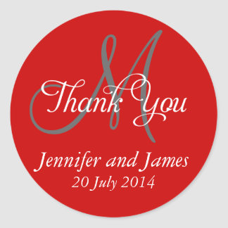 Monogram Thank You Wedding Favour Stickers Red