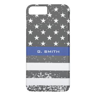 Monogram. Thin Blue Line. US American Flag. iPhone 8 Plus/7 Plus Case