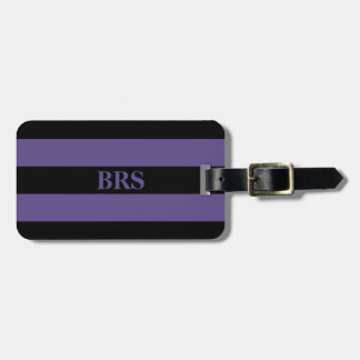 Monogram Three Black Stripe on Ultra Violet Purple Luggage Tag