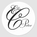 Monogram Three Letters and Names Wedding Sticker