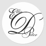 Monogram Three Letters & Names Wedding Sticker