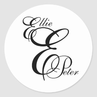 Monogram Three Letters & Names Wedding Sticker