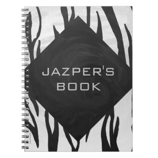 Monogram Tiger Black and White Print Spiral Note Book
