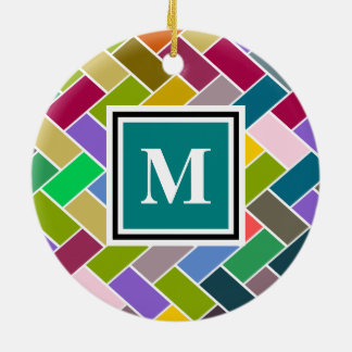 Monogram Tiled Colourful Repeating Pattern Round Ceramic Decoration