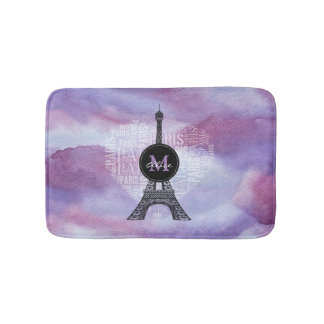 Monogram Tower & Inscriptions Paris in Heart Bath Mats