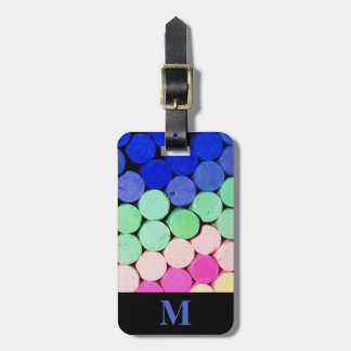 Monogram Travel Artist Chalk Pastel Circles Luggage Tag