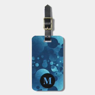Monogram Travel Blue Grunge Geometric Circles Luggage Tag