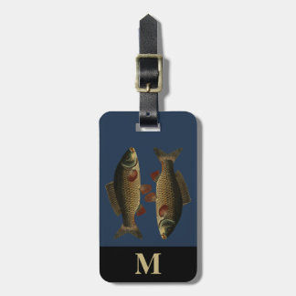 Monogram Travel Gray Green Carp Fish Luggage Tag