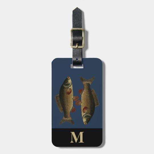 Monogram Travel Grey Green Carp Fish Luggage Tag
