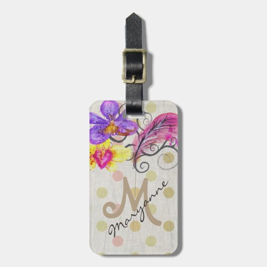 MONOGRAM TRAVEL LUGGAGE TAG, FRENCH BELLE EPOQUE LUGGAGE TAG