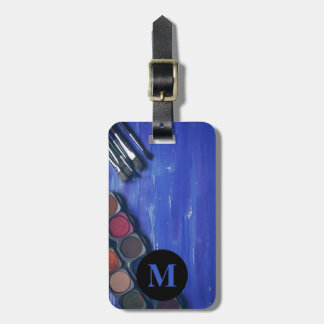 Monogram Travel Rainbow Paint Pots and Brushes Bag Tag