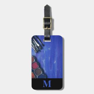 Monogram Travel Rainbow Paint Pots and Brushes Luggage Tag