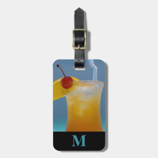 Monogram Travel Tropical Cocktail with Cherry Luggage Tag