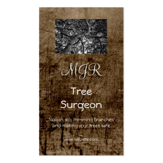 Monogram, Tree Surgery Business, leather-effect Pack Of Standard Business Cards