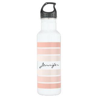 Monogram Trendy Coral Pastel Water Bottle