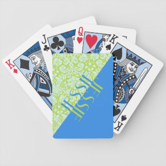 Monogram Trendy Resort Fashion Lime Green Blue Bicycle Playing Cards