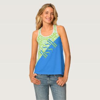 Monogram Trendy Resort Fashion Lime Green Blue Tank Top