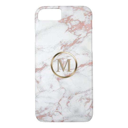 Monogram Trendy Rose Gold & White Marble iPhone