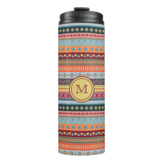 Monogram Tribal Autumn Colors Thermal Tumbler