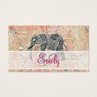 Monogram Tribal Paisley Elephant Colorful Henna Business Card