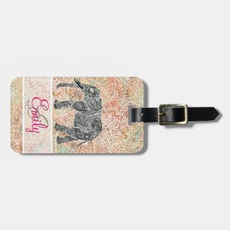 Monogram Tribal Paisley Elephant Colorful Henna Luggage Tag