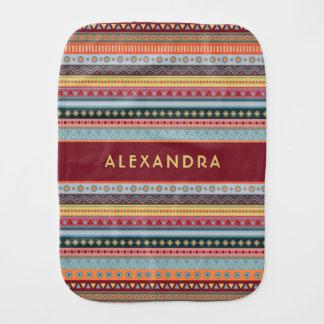 Monogram Tribal Stripes Colorful Autumn Burp Cloth