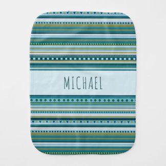 Monogram Tribal Teal Blue Pattern Burp Cloth