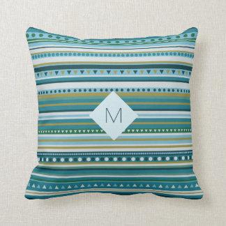 Monogram Tribal Teal Blue Pattern Throw Pillow