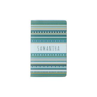 Monogram Tribal Teal Blue Stripes Pattern Notebook