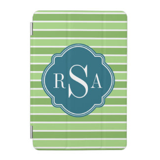 Monogram Trio Green Stripes Pattern iPad Mini Cover