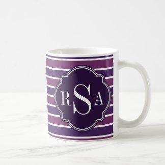 Monogram Trio Royal Purple Stripes Pattern Basic White Mug