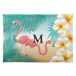 Monogram Tropical Flamingos Beach Paradise Placemat