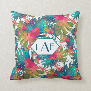 Monogram Tropical Floral Throw Pillow