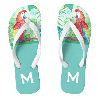 Monogram Tropical Parrot Flip Flops
