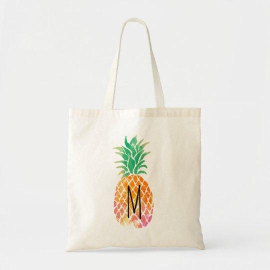 monogram tropical watercolor pineapple tote bag