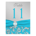 Monogram Turquoise and Silver Damask Table Number