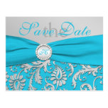 Monogram Turquoise and Silver Save the Date Card Post Cards
