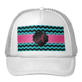 Monogram turquoise black chevrons cap