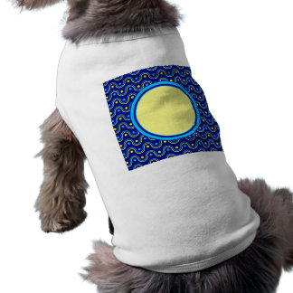Monogram Turquoise Blue Yellow Polka Dot Stripes Doggie Shirt