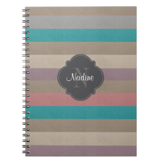 Monogram Turquoise, brown, and violet striped Spiral Notebook