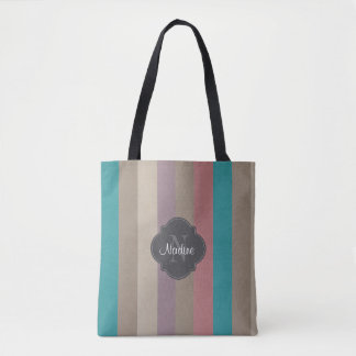 Monogram Turquoise, brown and violet striped Tote Bag