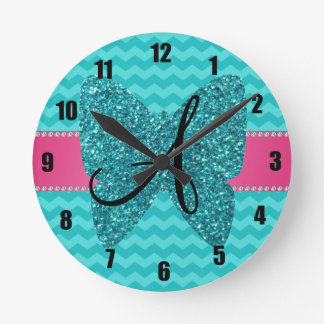 Monogram turquoise butterfly chevrons pattern round clock