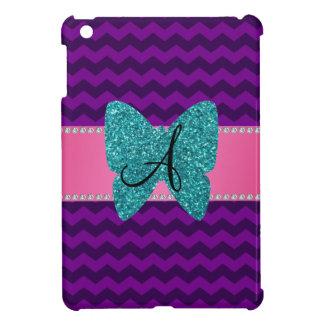 Monogram turquoise butterfly purple chevrons iPad mini case
