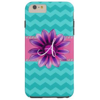 Monogram turquoise chevrons pink daisy tough iPhone 6 plus case