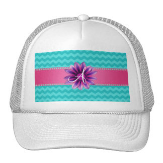 Monogram turquoise chevrons pink daisy mesh hats