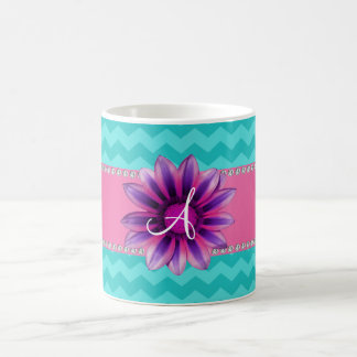 Monogram turquoise chevrons pink daisy mugs