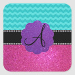 Monogram turquoise chevrons pink glitter square sticker