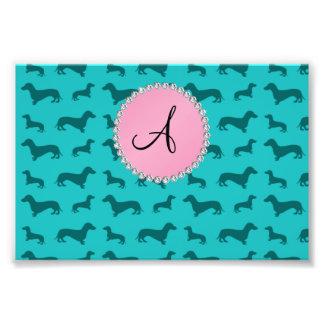 Monogram turquoise dachshund pattern photographic print